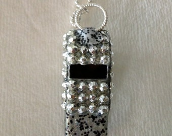 Silver Colored Rhinestone Whistle (3mm rhinestones)