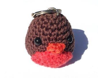 Keychain crocheted little bird
