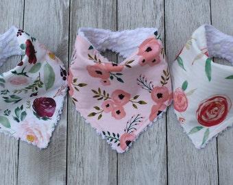 Floral Bib Set | Baby Girl Gift Set | Baby Girl | Baby Girl Bib Set | Bandana Bib | Bandana Bib Set | Baby Girl Shower Gift | Baby Shower