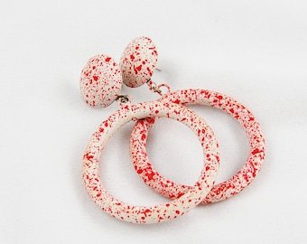 "Vintage Red and White ""Splatter Paint"" Style Earrings"