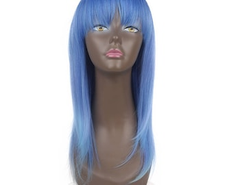 """Synthetic wigs light blue 18"""" inch long layered straight hair classic cup comes in different unique colors check us out"""