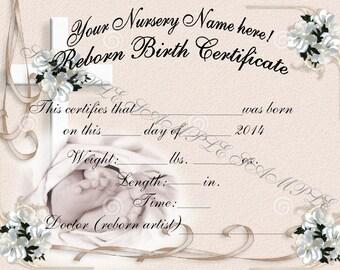 Captivating Reborn Birth Certificates (Your Custom Nursery Name) 5 Certificates
