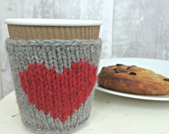 Reusable Cup Sleeve, Knitted Cup Cozy, Reusable Coffee Sleeve, Knit Cup Warmer, Girlfriend Gift for Her, Coffee Lover, Gifts Under 10,