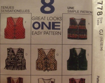 McCall's 7778 Girls  Vest 8 Designs  Size 4-5-6   Uncut New