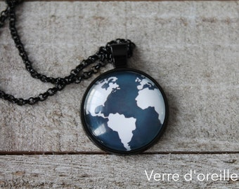 Planet necklace pendant jewel earth lover gift women glass cabochon