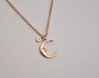 personalized moon necklace hand stamped disc initial necklace dainty delicate gold monogram necklace bridesmaid necklace