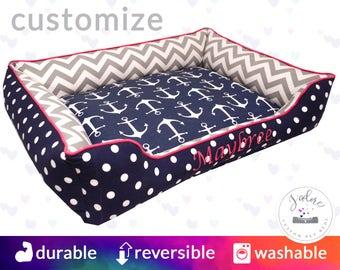 Navy, Pink & Gray Designer Dog Bed  | Anchors, Chevron, Polka Dot, Blue, Candy Pink, White | Washable