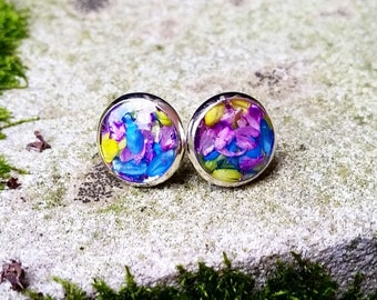 Real Flower Earring Studs - boho jewelry, earring posts, gifts for her, bohemian, silver