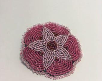Pink Beaded Flower Clip