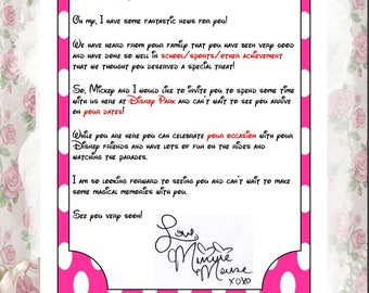 Personalised Letter From Minnie Mouse Announcing Your Trip - Digital .pdf file