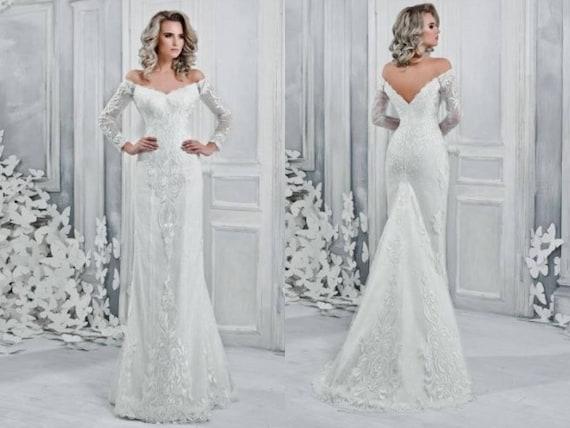 Wedding Mina Corset Lace Volant Shoulder Satin Off Sheath Nuage Dress Poshfair qXXw1rR