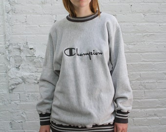 Champion reverse weave sweatshirt / vintage embroidered heather grey Champion sweatshirt