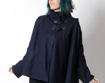 Dark blue womens Cape, Navy blue wool hooded cape coat, pointy hood and flared sleeves, Dark blue hooded cape, Womens coats, MALAM