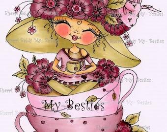 INSTANT DOWNLOAD Digital Digi Stamps Big Eye Big Head Dolls Digi   Besties Fancy Pants Tea Time Besties IMG378 By Sherri Baldy