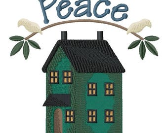 Home of Peace Embroidered on Hand Towel or Tea Towel