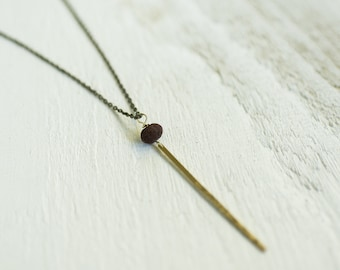 Skinny Brass Bar Drop with Accent Bead Necklace || Diffuser Necklace || Layering Necklaces || Canadian Seller
