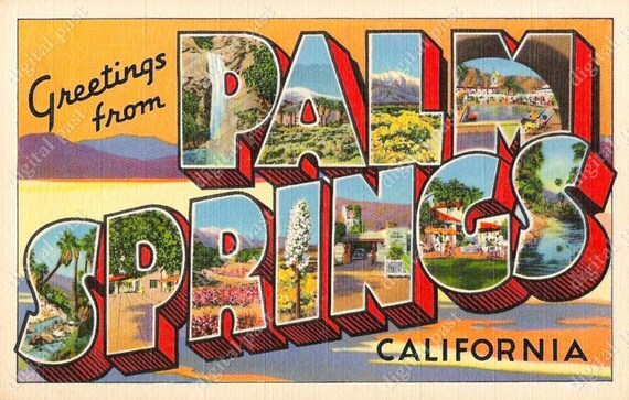 Greetings from palm springs california vintage postcard m4hsunfo