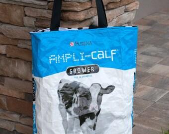 Upcycled Feed Bag - Large Feed Bag Tote - Grocery Bag - Reusable Shopping Bag - Market Tote - Purina Cow Feed Bag - Beach Bag -109