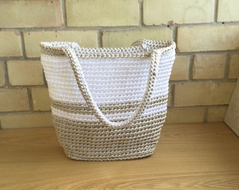Summer bag knitted -  Crochet Handbag - Crochet Shoulder Bag - Top Handle Bags