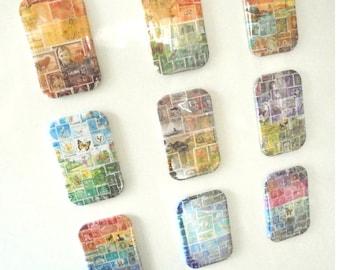 Ensemble aimant timbre-poste | Ensemble coloré d'aimants pour réfrigérateur impression port | Boho Bureau cadeau, cadeau de philatélie, Mail Art cadeau pour l'auteur de la lettre