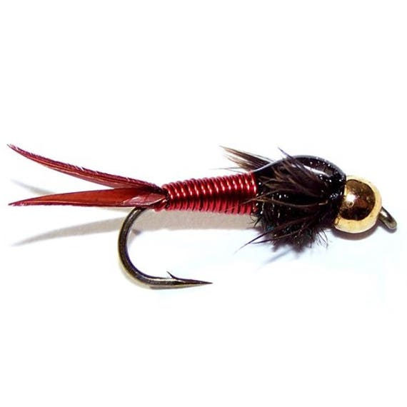 Red Copper John Nymph Fly - Trout and Panfish Fly Fishing Flies - Hook Size 14 - Hand Tied Trout Flies