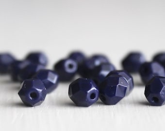25 Opaque Navy Faceted 6mm Czech Glass Rounds