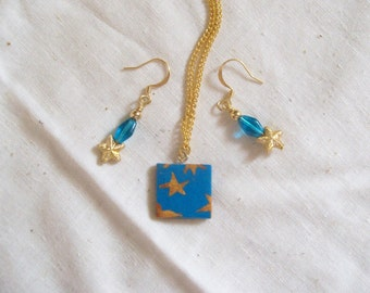 SEASIDE STARS Necklace & Earrings Matching Set - Casual Beachy Jewelry