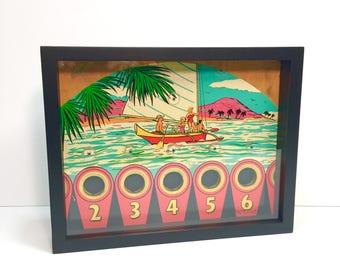 Beach Club Pinup Girl Pinball Machine Art Glass Framed