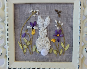 Silk Ribbon Embroidery Framed Hand Stitched  White Rabbit, Garden Flowers  Spring