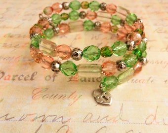 Wrap Bracelet, Triple Strand Memory Wire with Pink and Green Glass Beads, Silver Lock and Key Charm Bangle, Stacking Stretch Cuff for Women