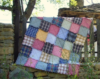Rustic quilt Recycled rag quilt instructions PDF pattern - from shirts to a quilt