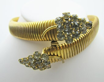 Art Deco Gold Omega Serpent Snake Choker Necklace. Egyptian Revival Stylized Crystal Rhinestone Head And Tail. 1930s Art Deco Jewelry Goth