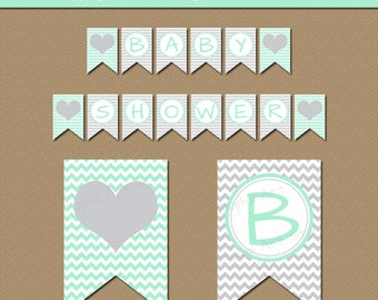 Printable Baby Shower Banner, Mint Party Supplies, Mint and Gray Chevron Baby Photo Prop, 1st Birthday Party Banner, Mommy to Be Banner BB1
