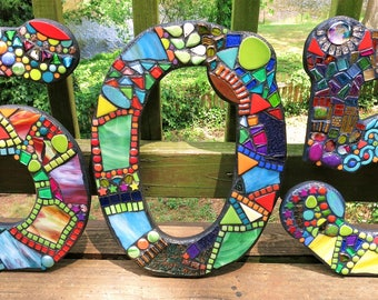 """MOSAIC HOUSE NUMBERS - 15"""" Tall - Totally Customizable - Order 15"""" Size Numbers From This Listing / Only 8.00 Shipping on This Size - Unique"""