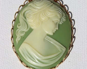 Green Vintage Cameo Pendant Women's Jewelry  Antique Cameo Green and White Plastic