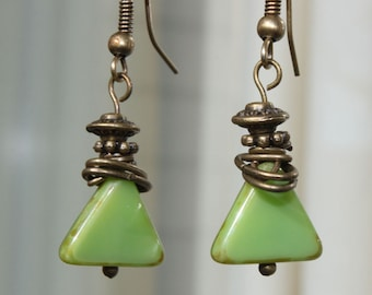 Green Earrings, Czech Glass Earrings, Dangle Earrings Jewelry boho Earrings Czech earrings Gift For women Gift For Her Gift For Wife