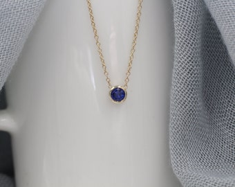 14k solid gold genuine sapphire necklace solitaire necklace station necklace