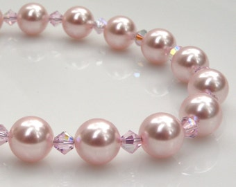 Pink Pearl Bracelet, Blush Classic Strand, Petal Bridesmaid Handmade Jewelry, Wedding Bridal Party, Sterling Silver, Spring Fashion