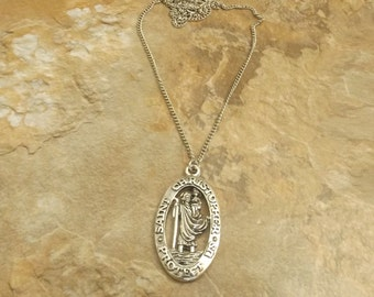 Pewter Saint Christopher Pendant on a Link Chain Necklace - 3570
