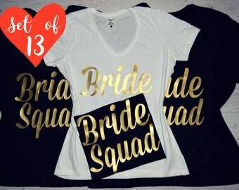 13 V-Neck Bridesmaid T-Shirts, Set of 13 Bridal T-Shirts V-neck, 13 Bachelorette T-Shirts, 13 Bridal Party T-Shirts, 13 Bridesmaid T-shirts