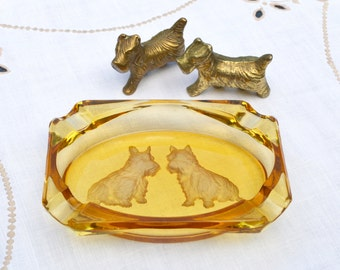 1930s Scottie Dogs - Intaglio Reverse Engraved Glass Golden Amber Oblong Dish Cigar Ashtray and a Pair of Small Solid Brass Cast Figures