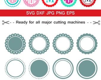 Circle monogram frames svg, Monogram Frames svg cut files,svg png dxf eps jpg, cuttables for cameo silhouette studio cricut