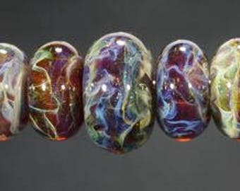 Lampwork Glass Boro Bead Set of 11 With Focal Bead Handmade Juba Glass Green Amber Blue Sparkle 32a