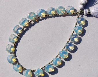 10 Pcs 5 Pair 10 mm Opalite Faceted Heart Briolettes, Loose Briolette Beads A92