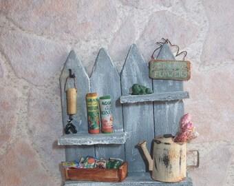 Dollhouse  Fence Garden shelf - 1/12th Scale