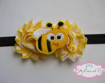 Bumble Bee Headband, Bumble Bee Hair Bow, Baby Headband, Photo Prop, Girl Gift, Yellow Flower Headband, Elastic Headband, Spring Headband