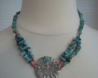 Necklace - Turquoise and Silver Sun