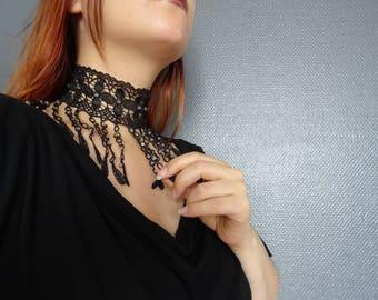Venedig-Stickerei Perlen transparent Bohemia Crystal Lace Hals Choker Halskette