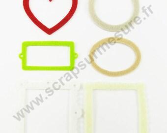 Felt - Frame - ivory white beige Red Apple - x 6 pcs