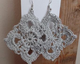 Silver crochet earrings, metallic earrings, sterling silver, nickel free